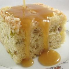 This delicious and moist cake is studded with fresh rhubarb and served with a brown sugar and vanilla cream sauce. Rhubarb Recipes, Pie Recipes, Baking Recipes, Dessert Recipes, Cooking Rhubarb, Rhubarb Desserts, Recipies, Yummy Recipes, Sauce Caramel