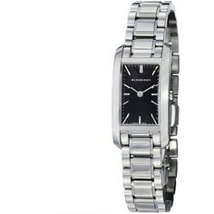 Burberry Women's BU9501 'Heritage' Dial Stainless Steel Quartz Watch (€500) ❤ liked on Polyvore featuring jewelry, watches, accessories, stainless steel jewelry, black face watches, stainless steel jewellery, stainless steel watches and silver tone watches