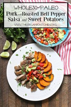 Pork with Roasted Red Bell Pepper Salsa and Sweet Potatoes