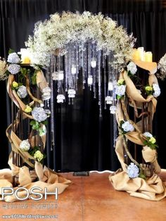 For May 19 Rock Creek Gardens Open House: Burlap crystals, & baby's breath arch