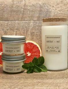 🌈GRAPEFRUIT + MINT🌈 Scented Soy Candle | Spring Celebration Candle | Refreshing Clean Scent | Birthday Gift | Bridesmaid Gift | Maid of Honor | www.sidehustleserenity.etsy.com Kitchen Candles, Wood Wick Candles, Mini Candles, Mason Jar Candles, Soy Candles, Yankee Candles, Scented Candles, Glass Containers, Glass Jars