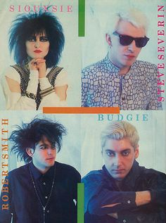 """""""Hyena""""-era Siouxsie and The Banshees poster when Robert Smith of the Cure was in the lineup. Siouxsie Sioux, Siouxsie & The Banshees, Vintage Goth, 80s Goth, Punk Goth, Robert Smith The Cure, New Wave Music, Cinema, New Romantics"""