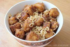 Petits dés de tofu panés, sauce sucrée/épicée