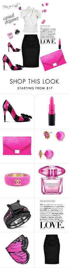 """Gourgeous  black  White and pink outfit"" by kercey ❤ liked on Polyvore featuring Boutique Moschino, MAC Cosmetics, Loeffler Randall, Kate Spade, Chanel, Versace, Ralph Lauren and Paule Ka"