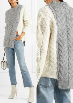 Moncler Cozy Two-Tone Cable-Knit Sweater sweaters Fight the Cold This Winter With These 30 Designer Sweaters Knitting Blogs, Vogue Knitting, Knitting Designs, Knitting Patterns Free, Knitting Ideas, Sewing Patterns, Pullover Design, Sweater Design, Pullover Upcycling