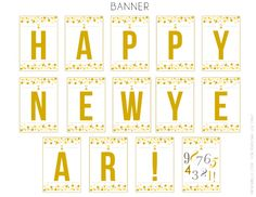 Free printables -- Happy New Year banner! See more party ideas at CatchMyParty.com. #freeprintables #newyears #banner
