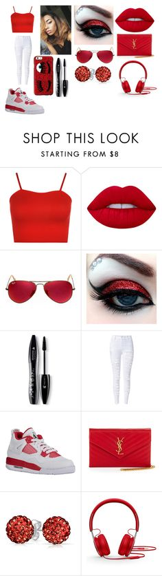 """""""Red Life"""" by breezybrebre ❤ liked on Polyvore featuring beauty, WearAll, Lime Crime, Ray-Ban, Lancôme, WithChic, Yves Saint Laurent, Bling Jewelry, Beats by Dr. Dre and Chiara Ferragni"""
