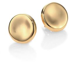 Roberto Coin 18K Yellow Gold Round Medium Button Earrings ($1,290) ❤ liked on Polyvore featuring jewelry, earrings, gioielli, apparel & accessories, gold, round gold earrings, roberto coin earrings, 18k yellow gold earrings, yellow gold earrings and fake gold earrings