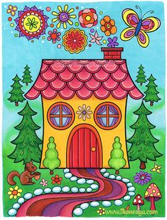Whimsical art by Thaneeya McArdle: Paintings and drawings of cute colorful fairies, aliens, cats, dogs, people and more! Art Drawings For Kids, Easy Drawings, House Drawing For Kids, Cottage Art, Cozy Cottage, Colorful Paintings, Owl Paintings, Naive Art, Whimsical Art