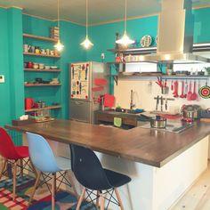kiraraさんの、キッチン,IKEA,北欧,marimekko,モザイクタイル,アルメダールス,古民家リノベーション,無垢材の床,古民家暮らし,カラフルインテリア,造作キッチンカウンター,ターコイズブルー好き,のお部屋写真