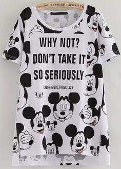 White Short Sleeve Mickey Print Dip Hem T-Shirt - abaday.com