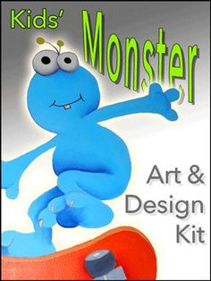 Monster Art and Design Kit - This kit contains 3 projects: design and paint a monster canvas, create 4 greeting cards, and learn to draw a monster and colour 3 scenes. Craft Kits For Kids, Crafts For Boys, Art For Kids, Crow Art, Monster Art, Diy Wall Art, Learn To Draw, Smurfs, Dinosaur Stuffed Animal