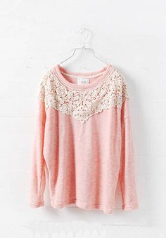 pink crochet detail sweater