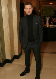 fd0db5c19ba9 Dermot O'Leary Charcoal Suit with Black Rollneck Charcoal Black Suit, Black  Suits,