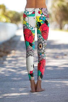 Retro Rose - Eco-Friendly Printed Performance Leggings - OM Shanti Clothing