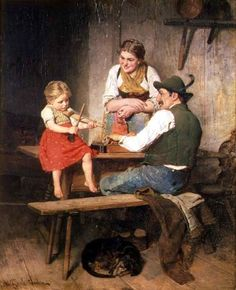 German artist, Adolf Eberle (1843-1914) created this charming scene of a family enjoying music together