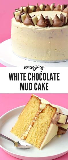 This soft and tender White Chocolate Mud Cake is perfect for your next party or celebration. Two layers of white chocolate mud cake covered in creamy white chocolate buttercream. Recipe from sweetestmenu.com #whitechocolate #cake #mudcake #chocolate #dessert