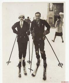 Ethel Margaret Whigham (Duchess of Argyll) skiing at St. Moritz, 1920s