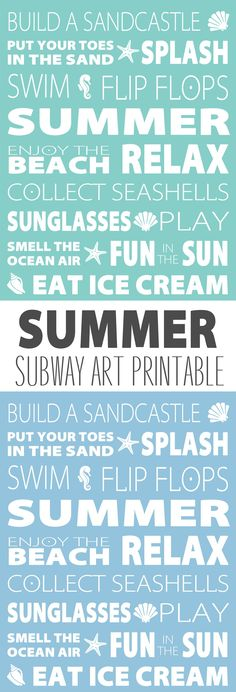 Love this summer subway art printable! I will be thinking of the beach every day.