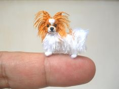 Miniature Papillon - Tiny Crochet Miniature Dog Stuffed Animals - Made To Order