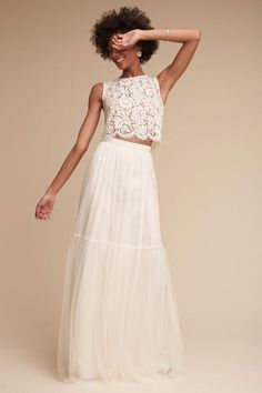 Look no further for the most beautiful beach wedding dresses than BHLDN. Embody the beachy bride you've been envisioning with a beach wedding dress that pairs with the beautiful coastline. Wedding Dress Separates, 2 Piece Wedding Dress, Bridal Separates, Boho Wedding Dress, White Bridesmaid Dresses, White Wedding Dresses, South African Wedding Dress, White Tulle Skirt, Tulle Skirts