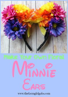 Easy Step by Step instructions on how to make your own Floral Minnie Mouse Ears. Show off your #DisneySide on your next trip to the Disney Parks or at your #DisneySide at Home Celebration. A pair of Mickey Ears (or Minnie Ears) is a must for any Walt Disney World vacation.