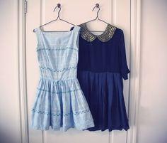Vintage 50's sundress and TBA peter pan collar silk dress @ Le Blog de Sushi