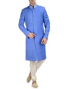 Blue Sherwani Embroidered Neckline