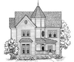 Swap master tubs with closet and add third story guest media and fitness. Eplans Victorian House Plan - Come Home to Comfort - 1947 Square Feet and 3 Bedrooms(s) from Eplans - House Plan Code Victorian House Plans, Victorian Style Homes, Victorian Design, Victorian Fashion, House Sketch, House Drawing, House Illustration, Illustrations, Renaissance Architecture