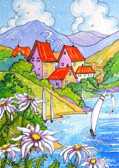 """Daily Paintworks - """"Sailboats and Posies Storybook Cottage Series"""" - Original Fine Art for Sale - © Alida Akers Cute Cottage, Cottage Art, Painting & Drawing, Watercolor Paintings, Oil Paintings, Watercolors, Storybook Cottage, Nature Illustration, Whimsical Art"""