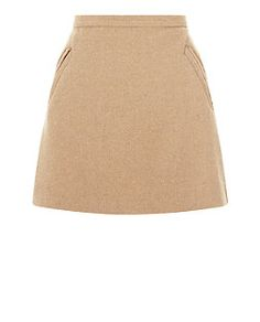 Camel Textured Pocket Side Skirt  | New Look