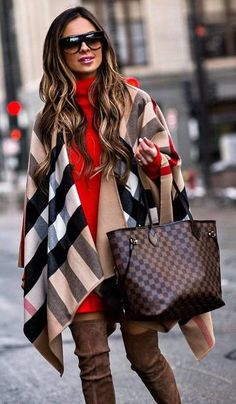 red sweater dress, plaid poncho brown long boots