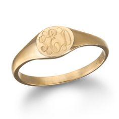 Mini Signet Monogram Ring, Rose Gold. I NEEED ONE! #ring #jewelry