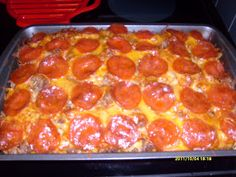 Pizza Casserole: this IS similar to the original pinterest recipe that disappeared...AMAZING 'Sarah' changes I make that make it Better: swap the ground meat for ground sausage, use Prego sauce, and any noodles I happen to have in the house (usually macaroni). Perfection!