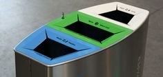 Recycling bin for mixed waste, made of a steel frame covered by a sturdy steel shell. The aluminium lid is equipped with two gas struts to assist opening which are activated with the release of the snap lock. The 3 openings feed 3 internal steel liners for the introduction of differentiated waste, 6 feet add …