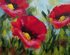 Poppy Fields Red Poppies Large Original Oil Painting by grandhorse