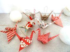 8 Décorations pour sapin de Noël grues en origami par papierelief