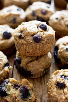 Gluten Free Vegan Blueberry Applesauce Muffins (V, GF): a one bowl recipe for soft