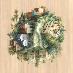 Barcelona-based artist and illustrator Cinta Vidal Agulló shows us how one world can be lived out in very different ways in Gravitat, her series of acrylic on wood panel paintings. The detailed paintings are a flurry of activity, depicting architecture or scenes of daily life happening from various angles