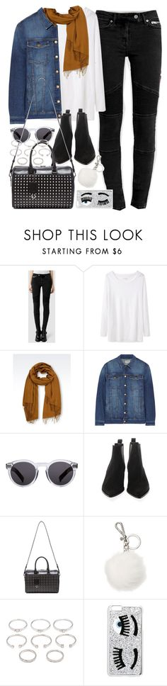 """Outfit with Chelsea boots and a white top"" by ferned ❤ liked on Polyvore featuring AllSaints, Étoile Isabel Marant, Emporio Armani, Current/Elliott, Illesteva, Acne Studios, Yves Saint Laurent, Michael Kors, Forever 21 and Chiara Ferragni"