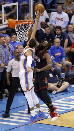Oklahoma City's Andre Roberson (21) defends against Houston's James Harden (13) during Game 3 in the first round of the NBA basketball playoffs between the Oklahoma City Thunder and the Houston Rockets at Chesapeake Energy Arena in Oklahoma City, Friday, April 21, 2017. Photo by Bryan Terry, The Oklahoman