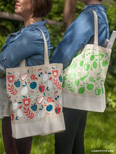 DIY_Teacher_Totes. FREE fruit iron on svg file from Lia Griffith. Plus the instructions on how to create!!