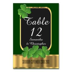 Shop Irish green, gold and shamrock wedding table number created by personalized_wedding. Personalize it with photos & text or purchase as is! Wedding Guest Table, Wedding Table Themes, Wedding Table Numbers, Wedding Sets, Wedding Cards, Celtic Wedding, Irish Wedding, Organic Gardening Magazine, Carton Invitation