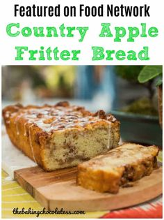 Awesome Country Apple Fritter Bread Recipe - Fluffy, buttery, white cake loaf loaded with chunks of apples and layers of brown sugar and cinnamon swirled inside and on top. Has been pinned a million times. Apple Fritter Bread, Apple Bread, Apple Fritters, Banana Bread, Apple Desserts, Apple Recipes, Bread Recipes, Holiday Desserts, Sweet Recipes