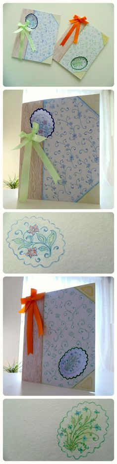 DIY Floral Cards drawn with colored pencils. Floral pattern, wood pattern, colorful bow.