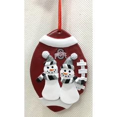 Ohio State Decor, Ohio State Wreath, Buckeyes Football, Ohio State Buckeyes, Snowman Christmas Ornaments, Christmas Central, How To Make Ornaments, Whimsical, Holiday Decor