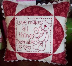 I have some friends who like redwork and red and white quilts.  This is for you! AUNTIE'S QUAINT QUILTS