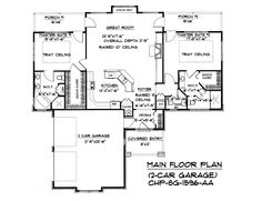 Down-sizing floor plan SG-1596-AA by Carolina Home Plans.