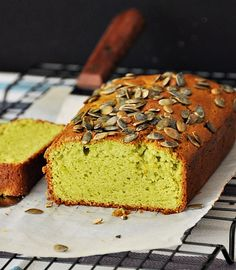 avocado loaf topped with pepitas (pumpkin seeds)