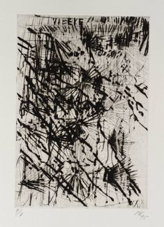 Artist  Per Kirkeby (born 1938)  Title  [no title]  From Vibeke  Date  1995  Medium  Etching on paper  Dimensions  image: 198 x 136 mm  Collection  Tate  Acquisition  Purchased 1998  Reference  P78142